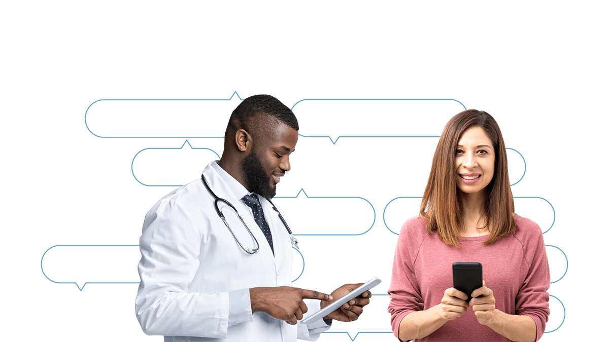 Optimizerx doctor and patient looking using technology